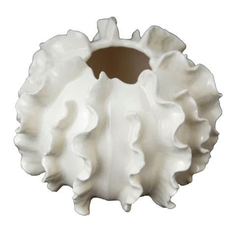 Gloss White 6-inch Ruffled Faux Coral Accent Décor