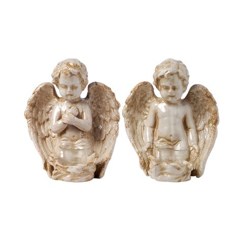 Antique White and Gold 9-inch Angels Décor (Set of Two)