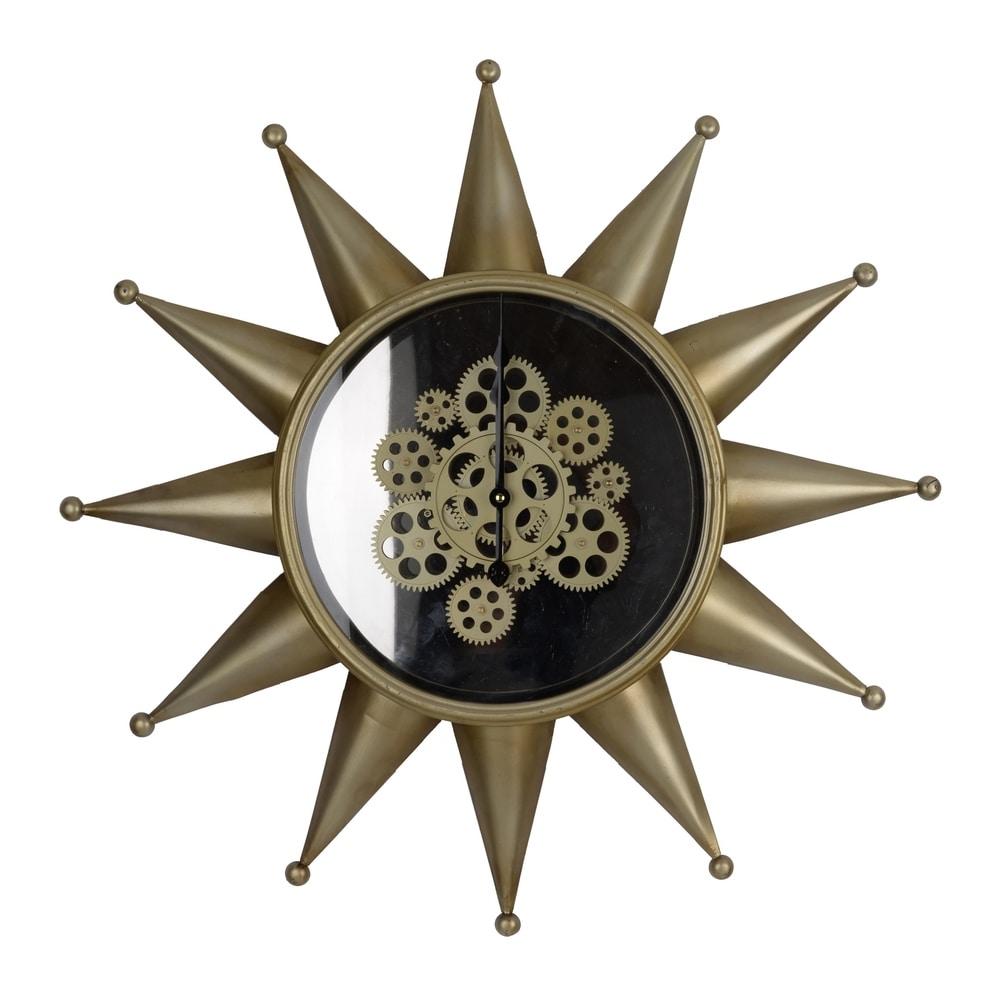 Ignacio 28-inch Antique Brass Star Wall Clock Clock