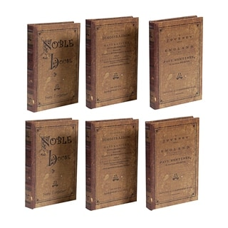 Brown 8-inch Antique Book Boxes (Set of 3)