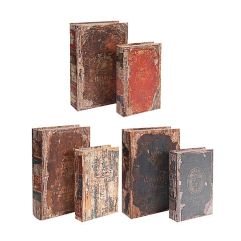 Brown and Multi-Color 13-inch Antique Book Boxes (Set of 6)
