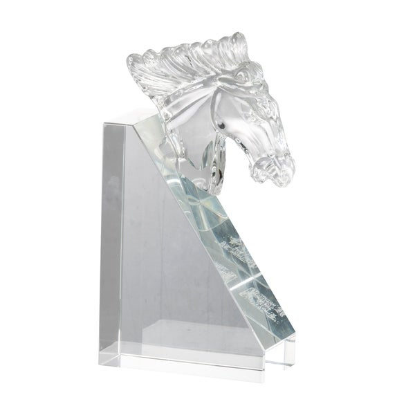 Clear 9-inch Glass Horse Head Bookends