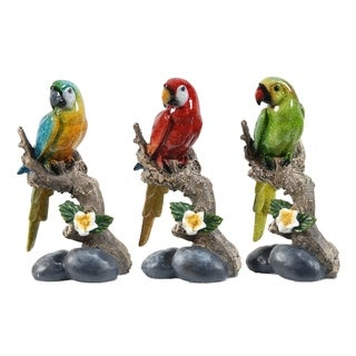 Brown and Multi-Color 7-inch Macaw on Branch (Set of Three)