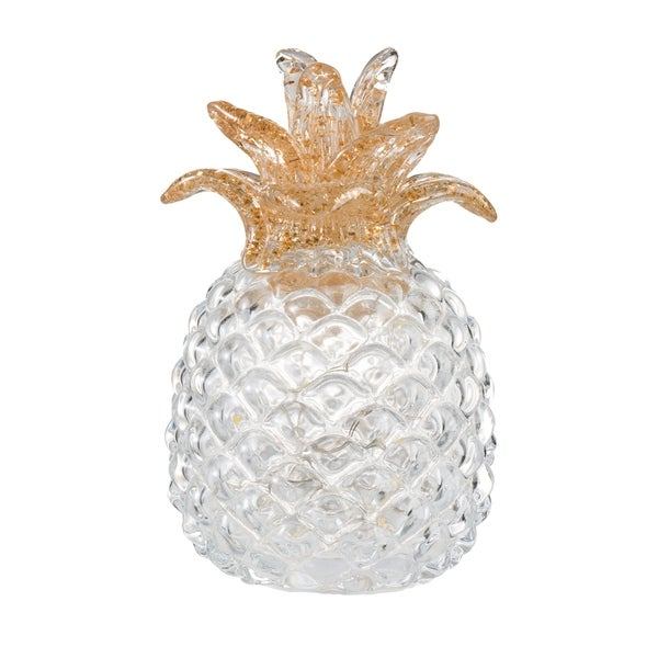 White 6-inch Glass Pineapple with LED Light