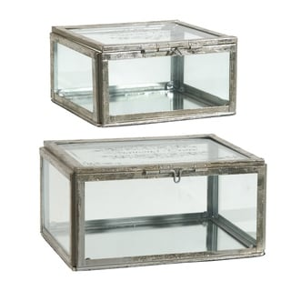 Silver Glass Vintage Jewelry Boxes (Set of 2)