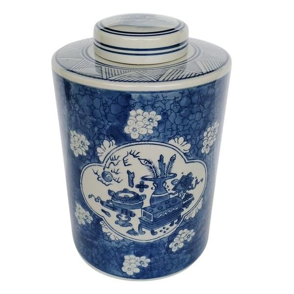 Kelda 13-inch Blue and White Round Lidded Jar