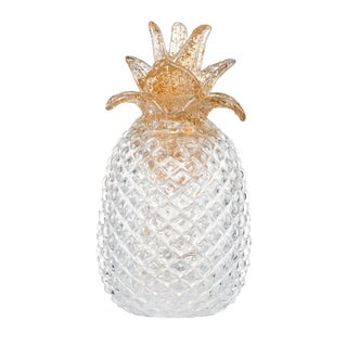 White Glass 9-inch Pineapple with LED Light