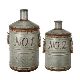 Patchin Silver and Rust Metal Jugs (Set of 2)