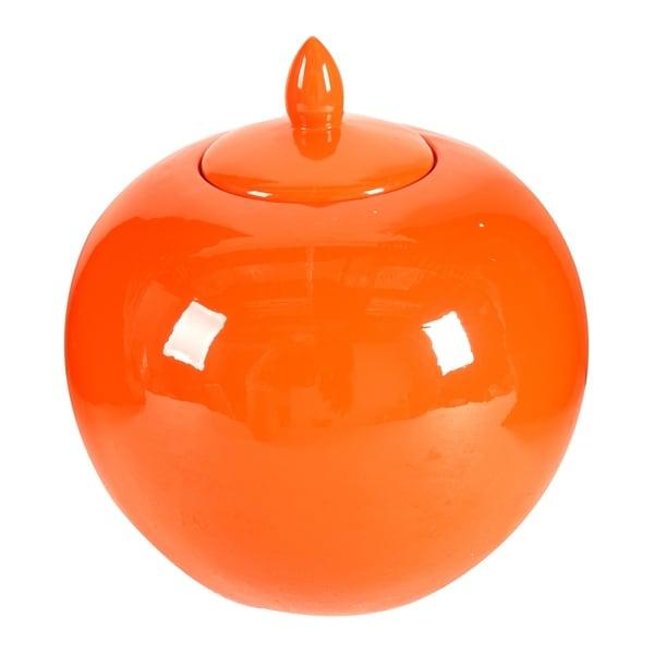 Modern 11-inch Orange Lidded Jar