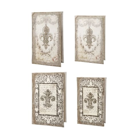 White Classic Decorative Book Boxes (Set of 4)