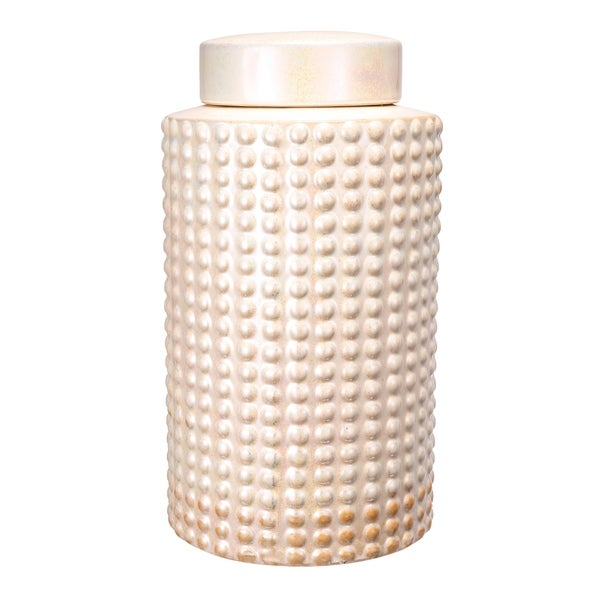 Keane 12-inch Pearly White Jar with Lid