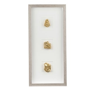Gold and White 26-inch Stone Wall Art