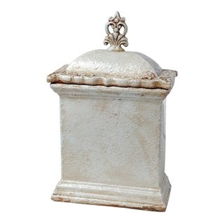 Sargent 15-inch Cream Rectangular Lidded Jar