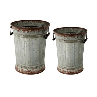 Silver and Rust Metal Vintage Pots (Set of 2)
