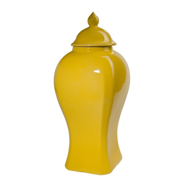 Yellow 15-inch Lidded Jar