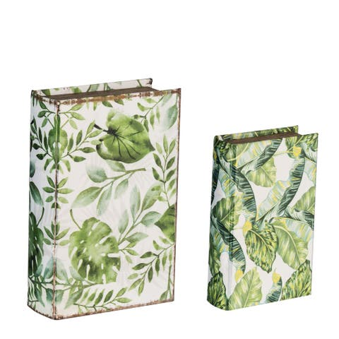 Botanical Green and White Decorative Book Boxes (Set of 2)