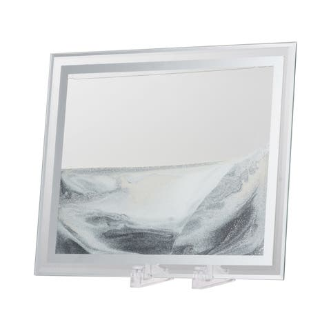 Black, White, Silver and Clear 10-inch Moving Sand Table Art