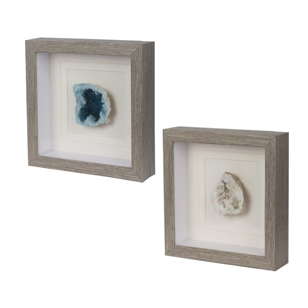 Blue and White 10-inch Colorful Stone Square Wall Art (Set of Two)