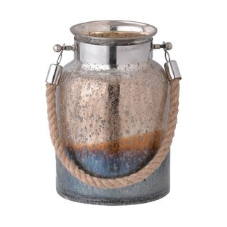 Dashelle 11-inch Copper and Silver Glass Jar