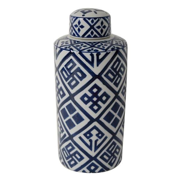 Valora 14-inch Blue and White Cylinder Jar