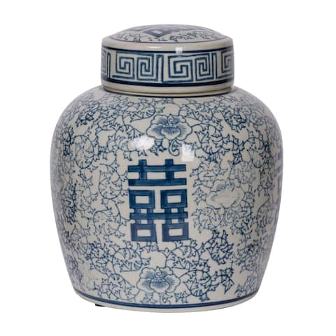 Berit 9-inch Blue and White Lidded Jar