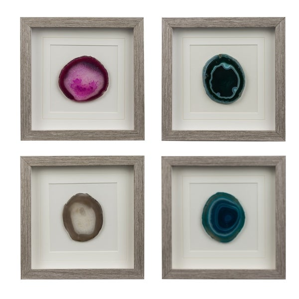 White and Multi-Color 10-inch Colorful Stone Square Wall Art (Set of 4)