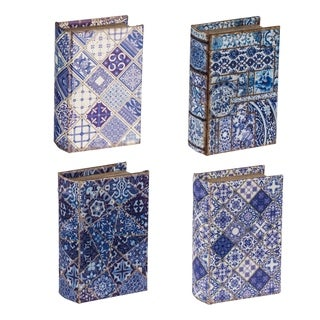 Blue and White 6-inch Decorative Book Boxes (Set of 4)
