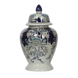 Bryn 17-inch Blue, Gold and White Ginger Jar