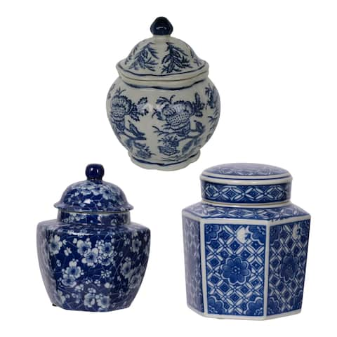 Leith 7-inch White and Blue Decorative Jars (Set of 3)