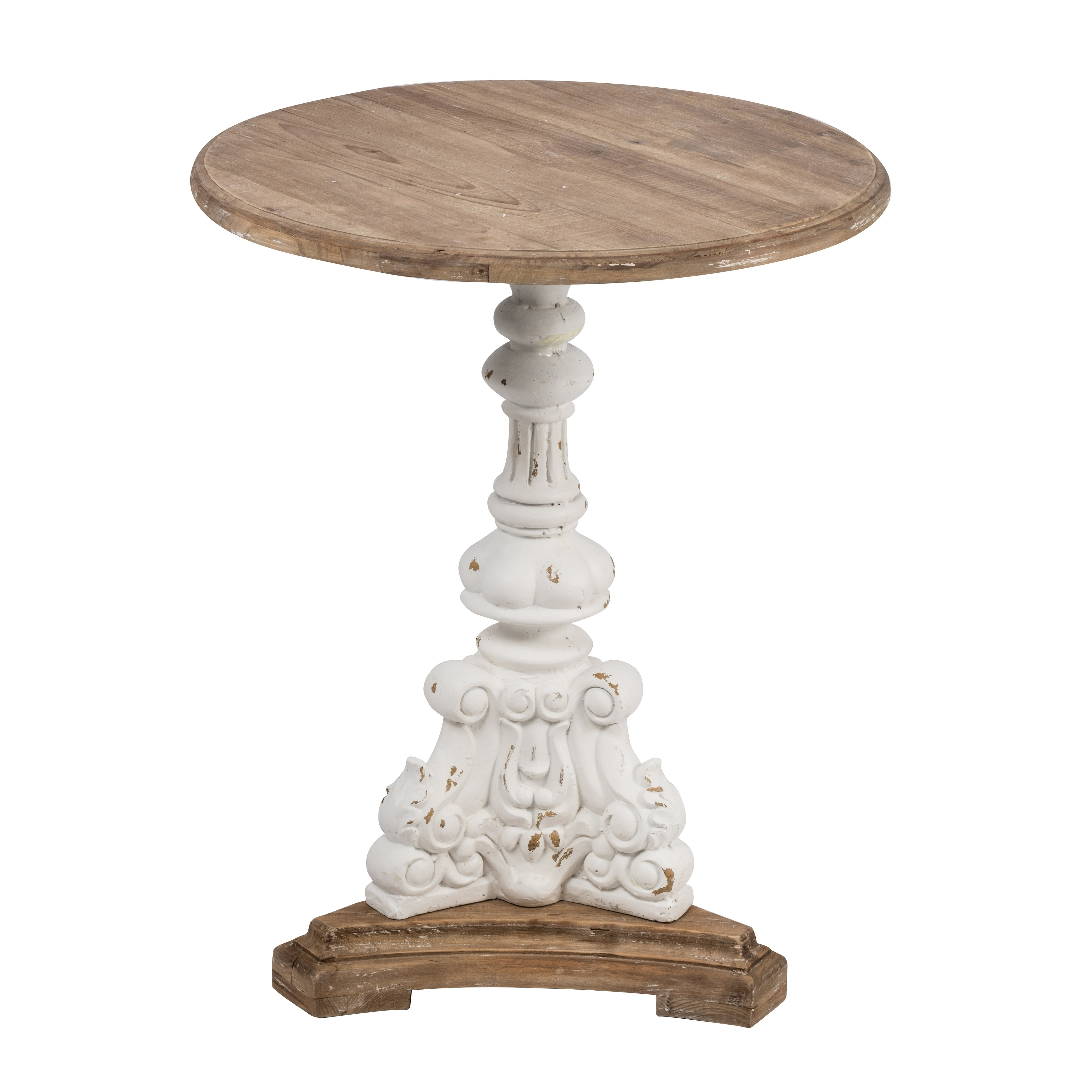 Antique White 26-inch Round Side Table - Overstock - 29073054
