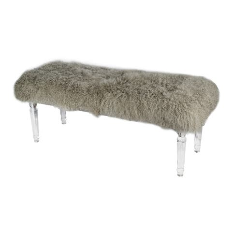 Clear 19-inch Mongolian Fur and Acrylic Bench