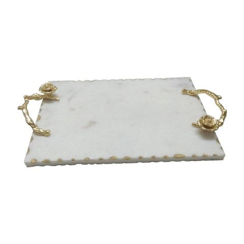 A&B Home White and Gold 2-inch Event Modern Marble Tray