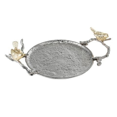 Alvada 5-inch Gold and Silver Decorative Tray