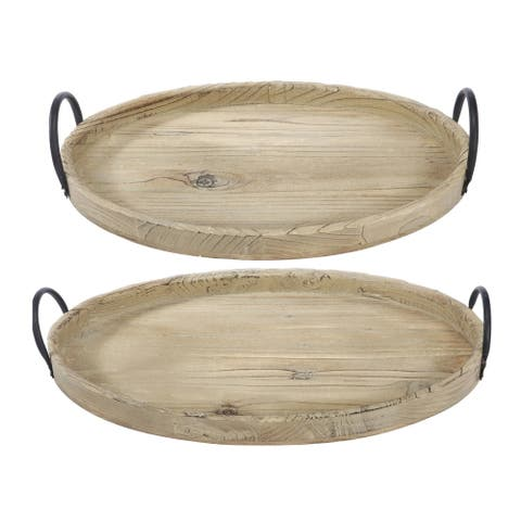 Farmers Market 4-inch Natural Wooden Tray (Set of 2)