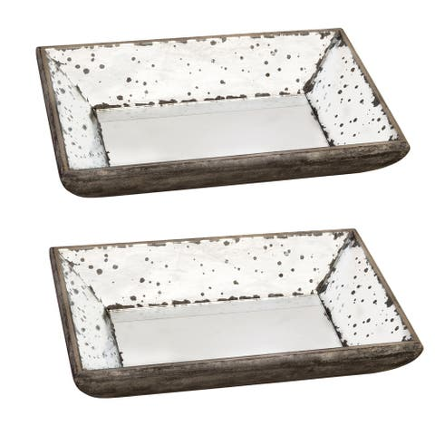 A&B Home Mirrored Glass 2-inch Trays (Set of 2)