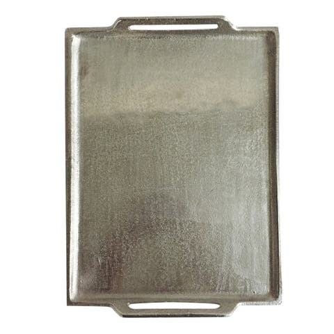 A&B Home Vivi 2-inch Silver Flat Tray