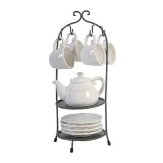 Louis Fleur-de-lis White and Dark Bronze Tea Set with Stand (Set of 10)