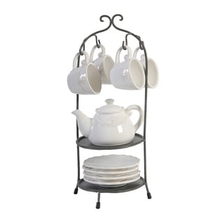 Louis Fleur-de-lis 17-inch White and Dark Bronze Tea Set with Stand (Set of 10)