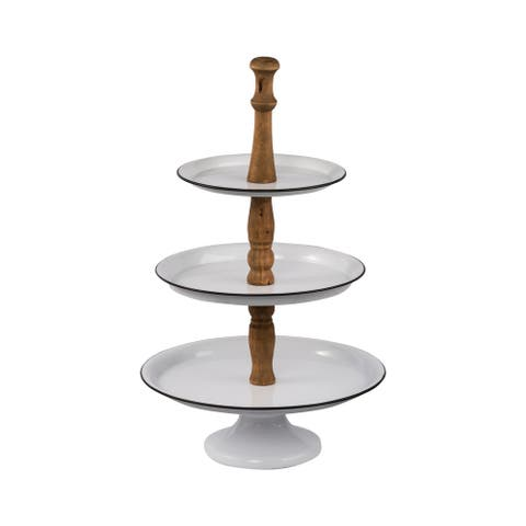 White and Natural 24-inch Three-Tier Metal Trays on Stand