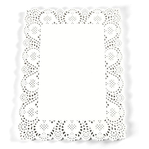 """100 Paper Doilies Square Lace Placemat for Table Decorative Display White 15x11"""""""