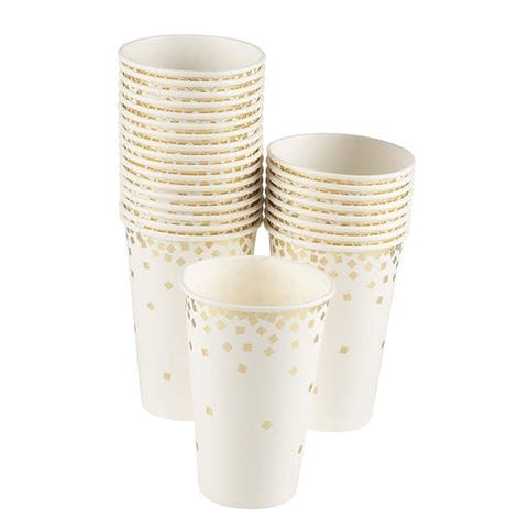 50-Pack Gold Foil Confetti Paper Cup for Wedding, Birthday, Bridal Shower, 12Oz