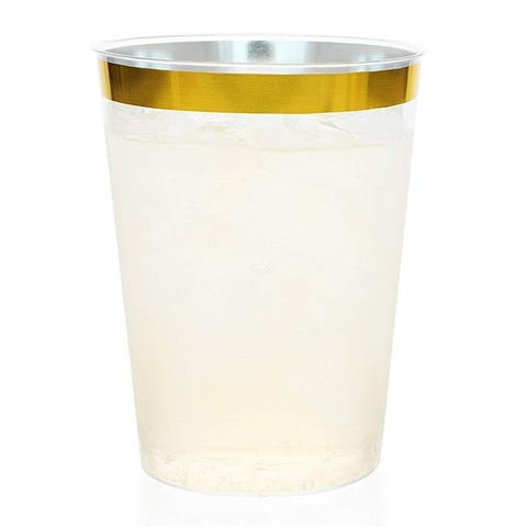 Juvale 50-Pack Gold Rimmed Plastic Cups BPA-Free Disposable 10 Ounce Tumblers