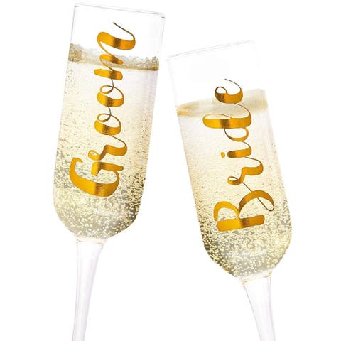 Juvale 2-Pack Gold Glass Groom and Bride Champagne Flutes for Wedding, 8 Ounces