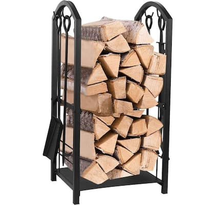 Juvale Firewood Rack with 4 Fireplace Tools Set, Indoor & Outdoor Fireplace Log Holder
