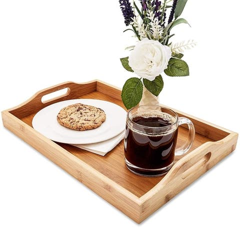 "Juvale Wood Food Serving Tray with Handles, 16 x 11 x 2"", Serve Coffee, Tea"