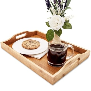 """Juvale Wood Food Serving Tray with Handles, 16 x 11 x 2"""", Serve Coffee, Tea"""