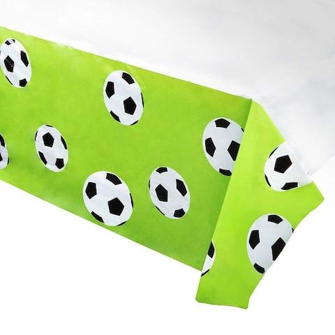 "6pcs 54"" x 108"" Soccer Disposable Plastic Table Covers Tablecloths Party Decor"