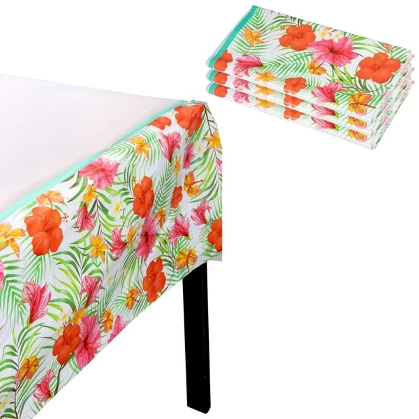 """3pcs 54 x 108"""" Disposable Plastic Tablecloths Cover Hawaiian Luau Tropical Party. Opens flyout."""