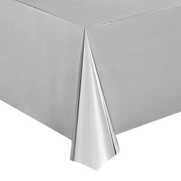 "6pcs 54 x 108"" Silver Foil Disposable Plastic Rectangle Table Covers Tablecloths"