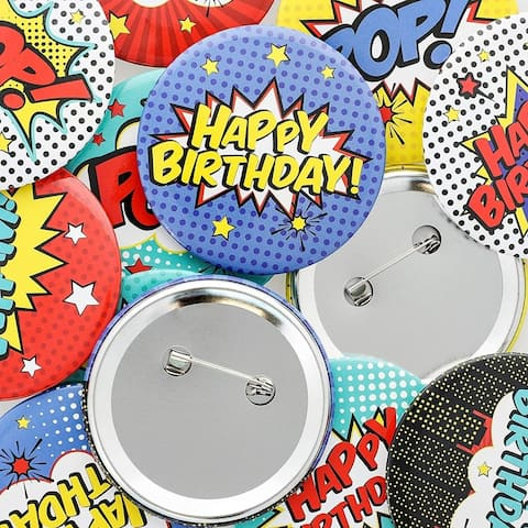 15-Pack Comic Book Birthday Pin Back Buttons, Super Hero Party Favor Supplies